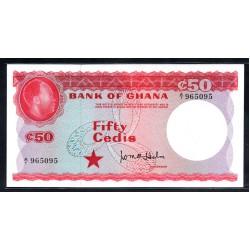 Гана 50 седи ND (1965 год) (Ghana 50 cedis ND (1965 g.)) P8a:Unc