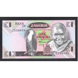 Замбия 1 квача ND (1980 - 1988 год) (ZAMBIA 1 kwacha ND (1980 - 1988 g.)) P23b:Unc