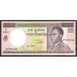 Конго 1 заир - 100 макута 1970 год (CONGO 1 zaire - 100 makuta 1970g.) P12b:Unc