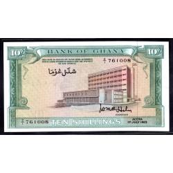 Гана 10 шиллингов 1963 год (Ghana 10 shillings 1963 g.) P1d:Unc
