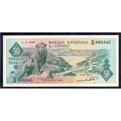 Конго 50 франков 1962 год (CONGO  50 francs 1962g.) P5а:aUnc