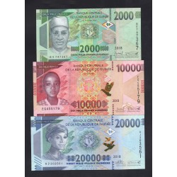 Гвинея набор из 3-х банкнот 2018 год (GUINEE nabor 3 banknot 2018 g.) Unc