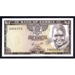 Замбия 1 квача ND (1976 год) (ZAMBIA 1 kwacha ND (1976 g.)) P19а:Unc