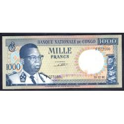 Конго 1000 франков 1961 год (CONGO  1000 francs 1961g.) P8a:Unc