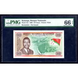 Катанга 10 франков 1960 год (KATANGA 10 francs 1960 g.) P5Ar:66 слаб
