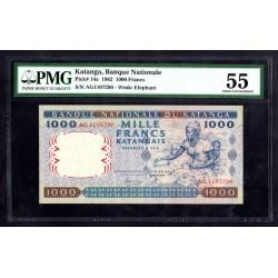 Катанга 1000 франков 1962 год (KATANGA 1000 francs 1962 g.) P14a:55 слаб