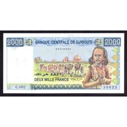 Джибути 2000 франков ND (1997 год) (Djibouti 2000 francs ND (1997 g.)) P40:Unc