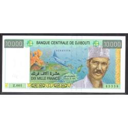 Джибути 10000 франков ND (1999 год) (Djibouti 10000 francs ND (1999 g.)) P41:Unc