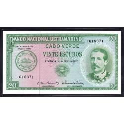 Кабо - Верде 20 эскудо 1972 год (CABO VERDE 20 escudos 1972g.) P52:Unc