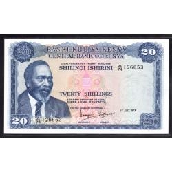 Кения 20 шиллингов 1973 год (KENYA 20 shillings 1973 g.) P8d:Unc