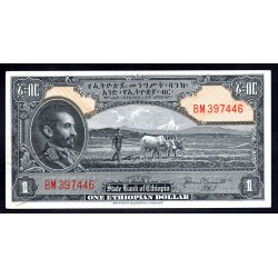 Эфиопия 1 доллар ND (1945 год) (ETHIOPIAN 1 dollar ND (1945 g.)) P12b:Unc