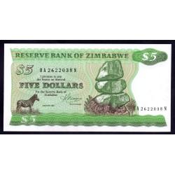 Зимбабве 5 долларов 1983 год (ZIMBABWE 5 dollars 1983 g.) P2c:Unc
