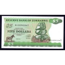 Зимбабве 5 долларов 1994 год (ZIMBABWE 5 dollars 1994 g.) P2b:Unc