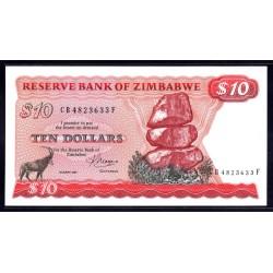 Зимбабве 10 долларов 1983 год (ZIMBABWE 10 dollars 1983 g.) P3d:Unc
