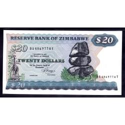 Зимбабве 20 долларов 1983 год (ZIMBABWE 20 dollars 1983 g.) P4c:Unc
