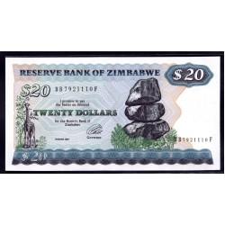 Зимбабве 20 долларов 1994 год (ZIMBABWE 20 dollars 1994 g.) P4d:Unc