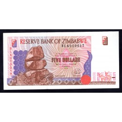 Зимбабве 5 долларов 1997 год (ZIMBABWE 5 dollars 1997 g.) P5a:Unc