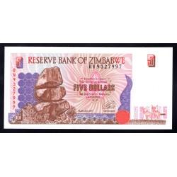 Зимбабве 5 долларов 1997 год (ZIMBABWE 5 dollars 1997 g.) P5b:Unc