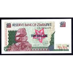 Зимбабве 10 долларов 1997 год (ZIMBABWE 10 dollars 1997 g.) P6a:Unc