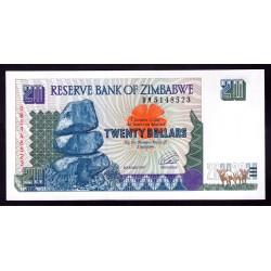 Зимбабве 20 долларов 1997 год (ZIMBABWE 20 dollars 1997 g.) P7a:Unc