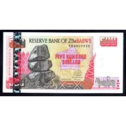 Зимбабве 500 долларов 2001 год (ZIMBABWE 500 dollars 2001 g.) P10:Unc