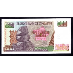 Зимбабве 500 долларов 2001 год (ZIMBABWE 500 dollars 2001 g.) P11a:Unc