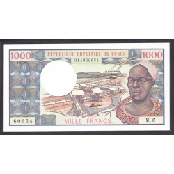 Конго Республика 1000 франков 1978 год (CONGO REPUBLIC 1000 francs 1978 g.) P3d:Unc