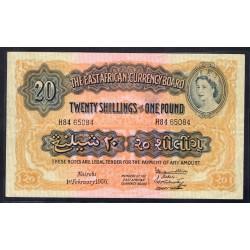 Британская Восточная Африка 20 шиллингов - 1 фунт 1956 год (EASTAFRICAN CURRENCY BOARD 20 shillings - 1 pound 1956 g.) P35:XF