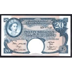 Британская Восточная Африка 20 шиллингов ND (1962 год) (EASTAFRICAN CURRENCY BOARD 20 shillings ND(1962 g.)) P43:Unc