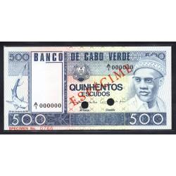 Кабо - Верде 500 эскудо 1977 год Образец (CABO VERDE 500 escudos 1977g. Especime) P55s:Unc