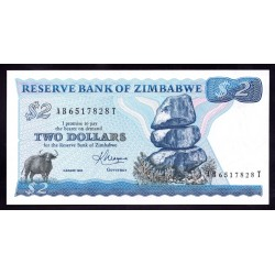 Зимбабве 2 доллара 1983 год (ZIMBABWE  2 dollars 1983 g.) P1b:Unc