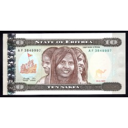 Эритрия 10 накфа 1997 g. (ERITREA 10 nakfa 1997g.) P3:Unc