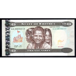 Эритрия 20 накфа 1997 год (ERITREA 20 nakfa 1997 g.) P4:Unc