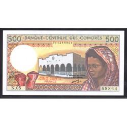 Коморские Острова 500 франков ND (1986 год) (COMORES 500 francs ND (1986 g.)) P10a:Unc