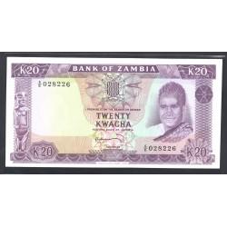 Замбия 20 квача ND (1969 год) (ZAMBIA 20 kwacha ND (1969 g.) P13c:Unc