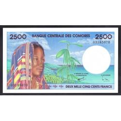 Коморские Острова 2500 франков ND (1997 год) (COMORES 2500 francs ND (1997 g.)) P13:Unc