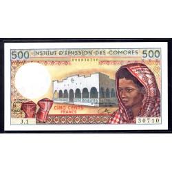 Коморские Острова 500 франков ND (1976 год) (COMORES 500 francs ND (1976 g.)) P7:Unc