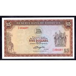 Родезия 5 долларов 1978 г. (RHODESIA 5 dollars 1978 g.) P35b:Unc