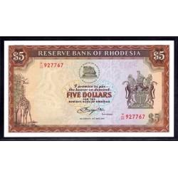 Родезия 5 долларов 1979 г. (RHODESIA 5 dollars 1979 g.) P40:Unc