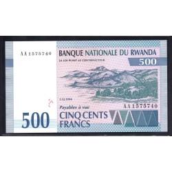Руанда 500 франков 1994 г. (RWANDA 500 francs 1994 g.) P23:Unc