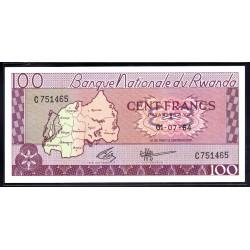 Руанда 100 франков 1964 г. (RWANDA 100 francs 1964 g.) P8а:Unc