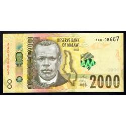 Малави 2000 квача 2016 г. (MALAWI 2000 Kwacha 2016) P69:Unc