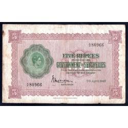 Сейшельские Острова 5 рупий 1942 г. (Seychelles  5 rupees 1942 g.) P8:VF+