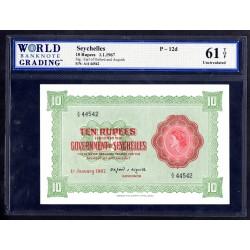 Сейшельские Острова 10 рупий 1967 г. (Seychelles  10 rupees 1967 g.) P12d:61 greid slab