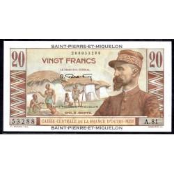 Сент - Пьер и Микелон 20 франков ND (1950-1960 г.) (SAINT PIERRE & MIQUELON 20 Francs ND (1950-1960)) P24:Unc