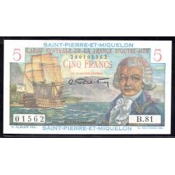 Сент - Пьер и Микелон 5 франков ND (1950-1960 г.) (SAINT PIERRE & MIQUELON 5 Francs ND (1950-1960)) P22:Unc