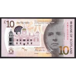 Шотландия 10 фунтов 2016 г. (SCOTLAND 10 Pounds Sterling 2016) P131:Unc