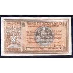 Шотландия 1 фунт 1942 г. (SCOTLAND 1 Pound Sterling 1942) P91c:XF