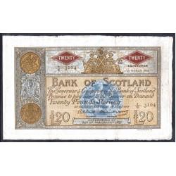 Шотландия 20 фунтов 1958 г. (SCOTLAND 20 Pounds Sterling 1958) P94f:VF