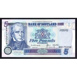 Шотландия 5 фунтов 1998 г. (SCOTLAND 5 Pounds Sterling 1998) P119с:Unc